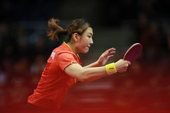 Chen Meng from China backhand. Final. Women`s Singles. Chen Meng win with a seven games victory 9-11, 8-11, 13-11, 9-11, 13-11, 11-9, 11-4 over fellow Chinese Stock Photos