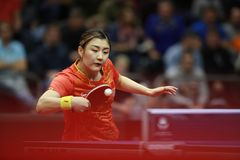 Chen Meng from China backhand. Final. Women`s Singles. Chen Meng win with a seven games victory 9-11, 8-11, 13-11, 9-11, 13-11, 11-9, 11-4 over fellow Chinese Stock Image