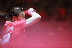Chen Meng. From China at the women`s Singles Round of 4 World table tennis championships in Dusseldorf. 29 May 6 june 2017 Royalty Free Stock Photos