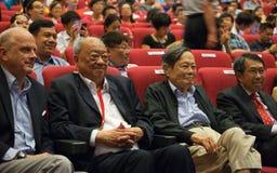 Chen-Ning Yang (NC-Yang) en la conferencia de los Yang-molinos en Singapur, NTU Imagen de archivo