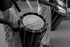 Chenda  Drummers. Line of Chenda drummers beating drums at a temple festival Royalty Free Stock Photos
