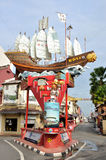 Cheng Ho's Ship in the Street of Melaka Stock Images