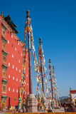 Chengde-Höhenkurort in Hebei-Provinz Putuo durch den Tempel des Rotes und der Umhang ragen hoch Stockfoto
