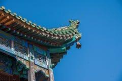 Chengde-Höhenkurort in Putuo, Hebei-Provinz durch den Tempel des Hauptgebäudes des roten Hauses Lizenzfreie Stockfotos