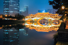 Chengdu anshun bridge at night Stock Image