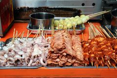 Chengdu, China: Barbecued Street Foods Royalty Free Stock Photos