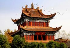 Chengdu, China: Bell Tower at Zhao Jue Temple Royalty Free Stock Photos