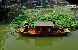 Chengdu, China: Boat at Long Tan Water Village Stock Image