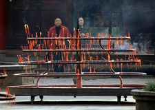 Chengdu, China: Burning Candles at Zhao Jue Temple Royalty Free Stock Photo