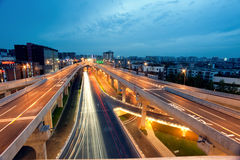 Chengdu, China, city overpass at night stock images