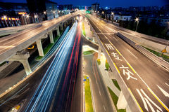Chengdu, China, city overpass at night royalty free stock photos