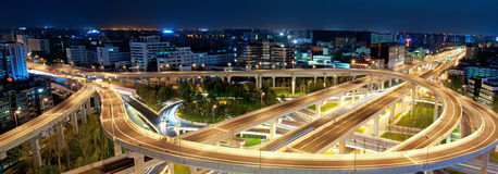 Chengdu, China, city overpass at night Royalty Free Stock Photos