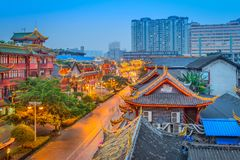 Chengdu, China Cityscape. Over QIntai Road historic district Stock Image