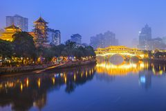 Chengdu, China Cityscape on the Jin River Stock Photos