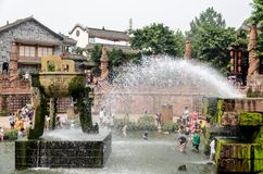 CHENGDU, CHINA 17 de agosto: Pueblo antiguo de Luodai del Hakka, el viejo Foto de archivo