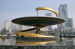 Chengdu, China: Dragon Fountain in Tianfu Square. A contemporary dragon-inspired fountain with water jets is one of several in Chengdu, China's vast Tianfu royalty free stock photo