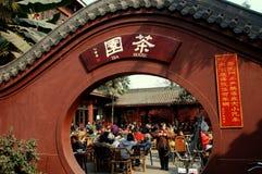 Chengdu, China: Het Theehuis van de Tempel van Jue van Zhao Royalty-vrije Stock Foto's