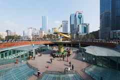 Chengdu Tianfu Square metro station. Chengdu, China - Jan 21, 2016 : People in Tianfu Square metro station on a sunny day stock photo