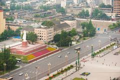 Mao statue in TianFu Square aerial view. Chengdu, China - May 4, 2016 : Mao statue in TianFu Square aerial view royalty free stock photo