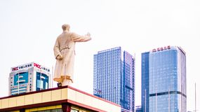 CHENGDU, CHINA - May 16, 2015 - Statue of Chairman Mao Zedong on Tianfu Square, Chengdu, Sichuan Province, China. CHENGDU, CHINA - May 16, 2015 - View on Statue royalty free stock photography