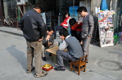 Chengdu, China: Men Playing Cards Stock Images