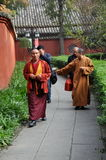Chengdu, China: Monks at Wenshu Temple Royalty Free Stock Photos