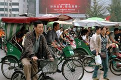 Chengdu, China: Pedicabs at Traffic Light Royalty Free Stock Image