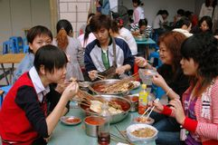 Chengdu, China: People Eating Chafing Dish Lunch Royalty Free Stock Images