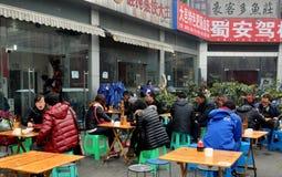Chengdu, China: People Eating Outside at Restaurant Royalty Free Stock Photos