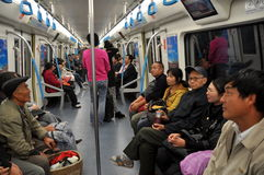 Chengdu, China: People Riding Subway Royalty Free Stock Photography