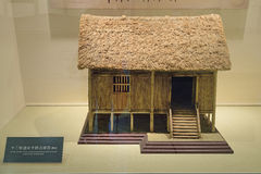 Chengdu China-Scale model of the wood stilted house unearthed Stock Photos