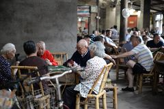 Chengdu, China: Seniors Playing Cards at Teahouse stock images