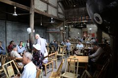 Chengdu, China: Seniors Playing Cards at Teahouse stock photography