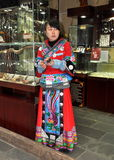 Chengdu, China: Shopkeeper in Chinese Robe on Jin Li Street Stock Photography