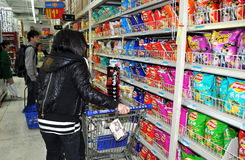 Chengdu, China: Shoppers Buying Snack Food stock image