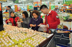 Chengdu, China: Shoppers at Walmart Supermarket Royalty Free Stock Photo
