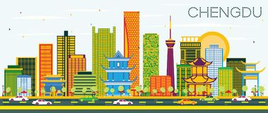 Chengdu China Skyline with Color Buildings and Blue Sky. Vector Illustration. Business Travel and Tourism Concept with Modern Architecture. Chengdu Cityscape vector illustration