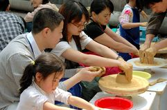 Chengdu, China: Students Making Pottery Royalty Free Stock Photos