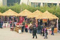 Chengdu Chine-Le a couvert des boutiques de chaume de cottage Image stock