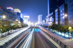CHENGDU CHINE : scène neuve de nuit de route de chunxi Photographie stock