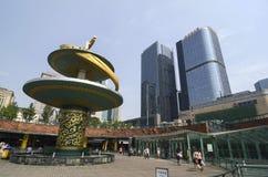 Chengdu, Cina: Fontana del drago nel quadrato di Tianfu fotografie stock libere da diritti