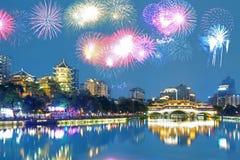 Chengdu fireworks, Sichuan, China