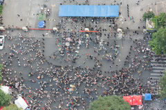 Chengdu - Crowd wainting to enter a concert vertical high angle Stock Photos