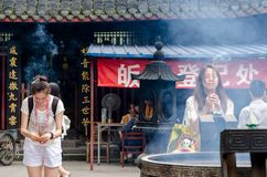 CHENGDU: Devotees pray at the Temple in Chengdu. China. Royalty Free Stock Images