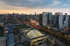 Chengdu gymnasium and Raffles City building at dusk Royalty Free Stock Photography