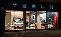 Tesla inc cars flagship store in Chengdu China. Chengdu Hubei China, 22 November 2017: Tesla inc cars flagship store in Chengdu China with Tesla logo and an Royalty Free Stock Images