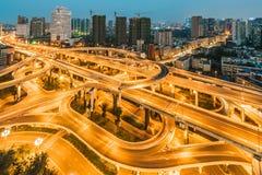 Chengdu interchange at night. Chengdu, Sichuan Province, China - Oct 28, 2015: Yingmenkou interchange at night Stock Photo
