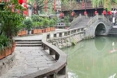 Chengdu - Jinli traditional bridge and chinese lantern Stock Image