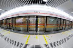 Chengdu metrolinje 2, fyrkantig station för tianfu Royaltyfri Foto