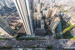 Chengdu miasta droga i drapacza chmur wysokiego kąta widok Fotografia Stock